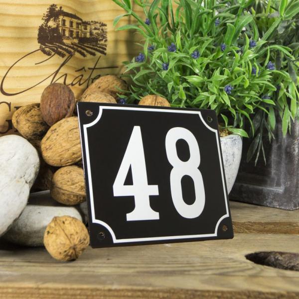 Huisnummerbord groot zwart nummer 48