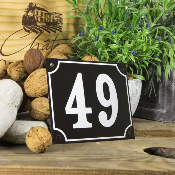 Huisnummerbord groot zwart nummer 49