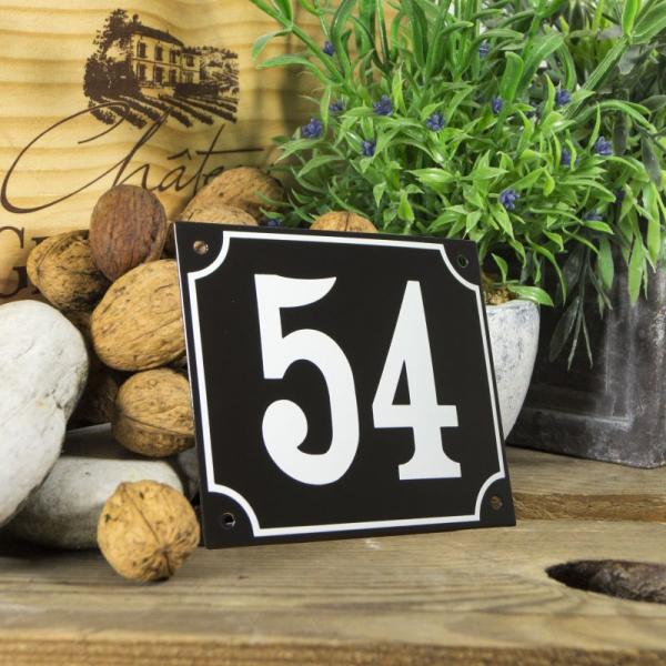 Huisnummerbord groot zwart nummer 54
