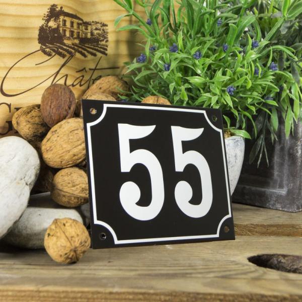 Huisnummerbord groot zwart nummer 55