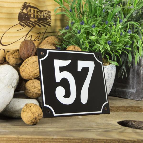 Huisnummerbord groot zwart nummer 57