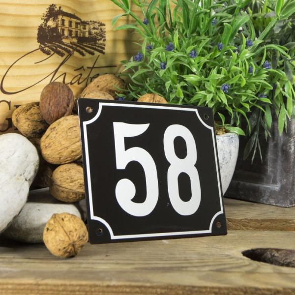 Huisnummerbord groot zwart nummer 58