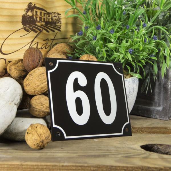Huisnummerbord groot zwart nummer 60