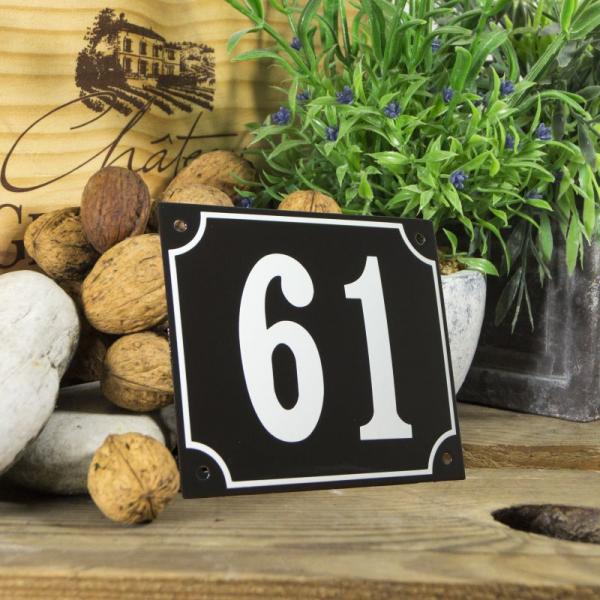 Huisnummerbord groot zwart nummer 61