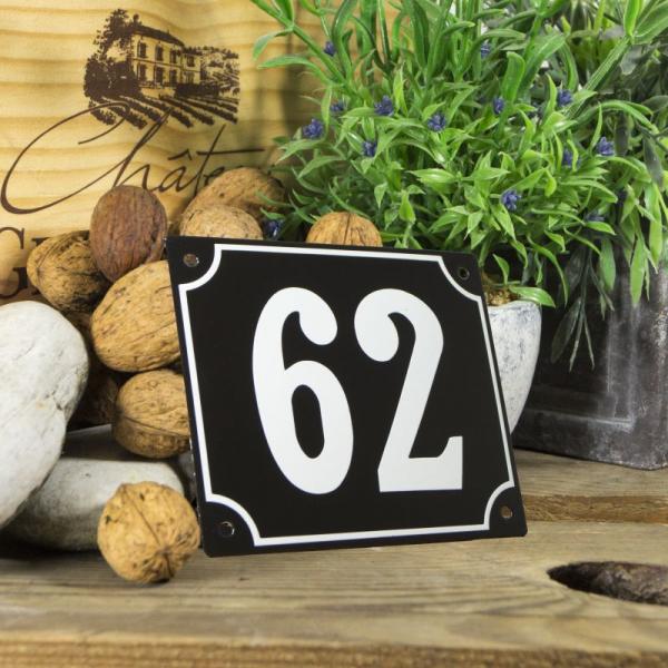 Huisnummerbord groot zwart nummer 62