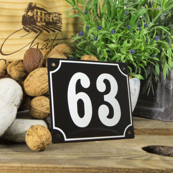 Huisnummerbord groot zwart nummer 63