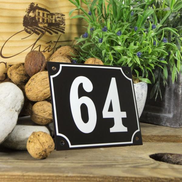 Huisnummerbord groot zwart nummer 64