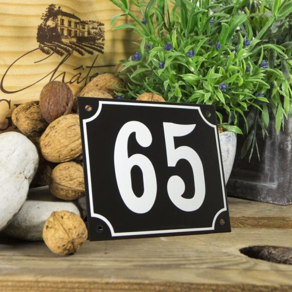 Huisnummerbord groot zwart nummer 65