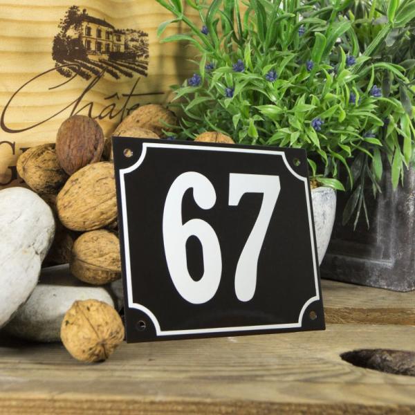 Huisnummerbord groot zwart nummer 67