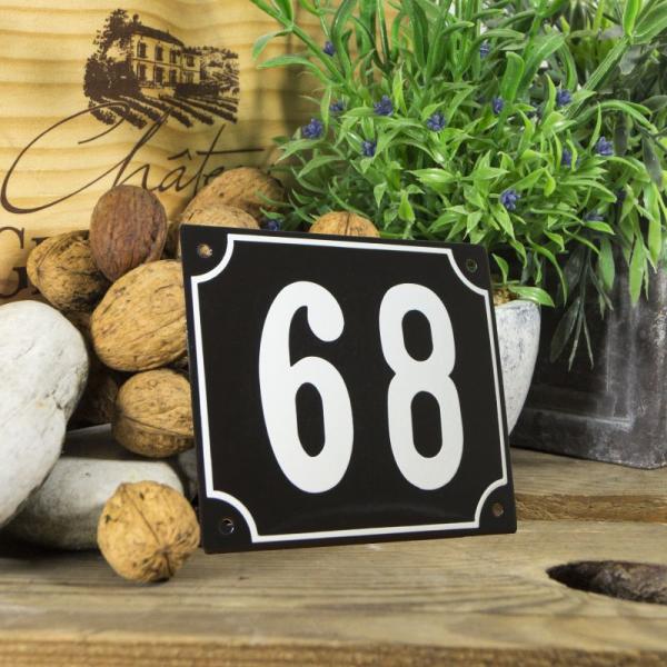 Huisnummerbord groot zwart nummer 68