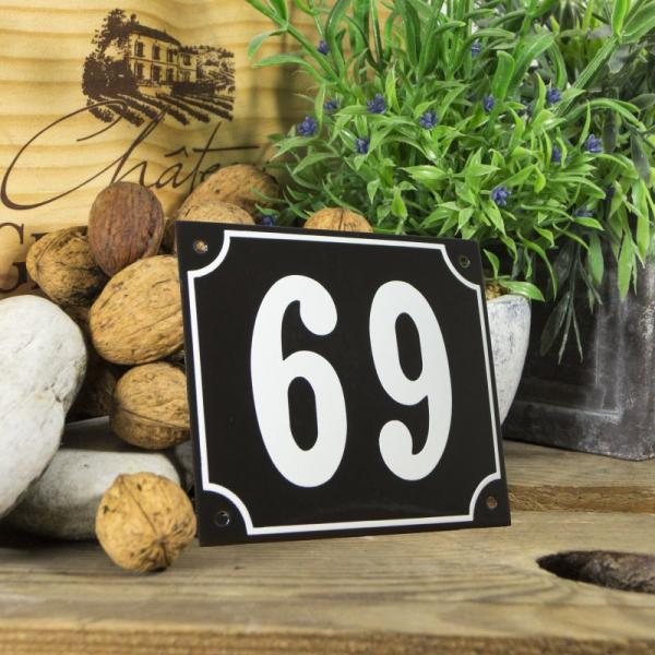 Huisnummerbord groot zwart nummer 69