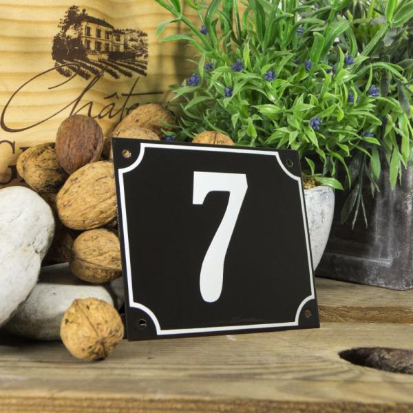 Huisnummerbord groot zwart nummer 7