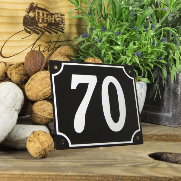 Huisnummerbord groot zwart nummer 70