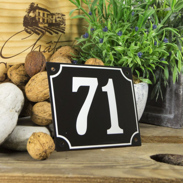 Huisnummerbord groot zwart nummer 71