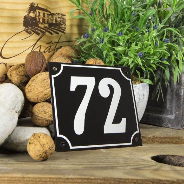 Huisnummerbord groot zwart nummer 72