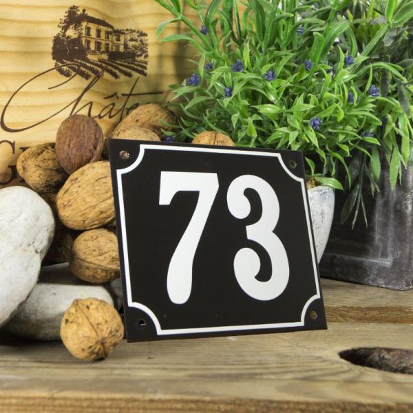 Huisnummerbord groot zwart nummer 73