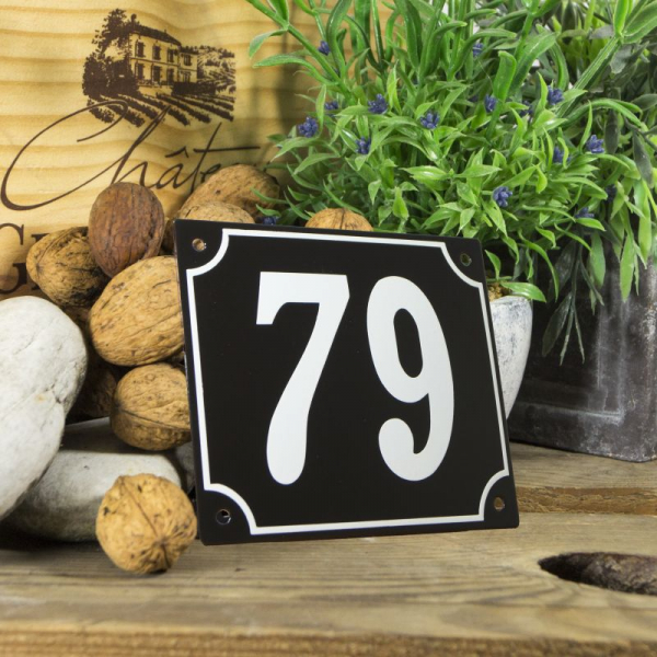 Huisnummerbord groot zwart nummer 79