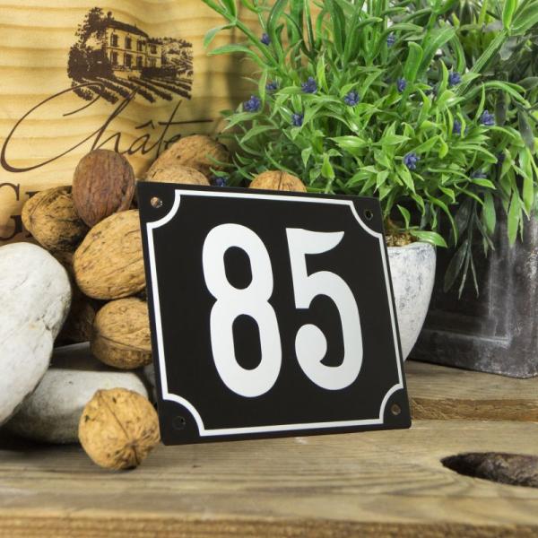 Huisnummerbord groot zwart nummer 85