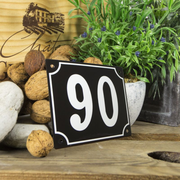 Huisnummerbord groot zwart nummer 90