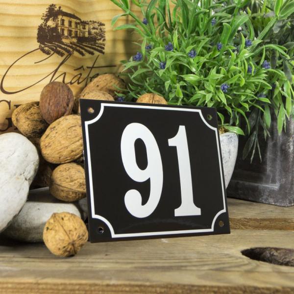 Huisnummerbord groot zwart nummer 91