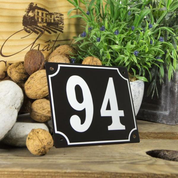 Huisnummerbord groot zwart nummer 94