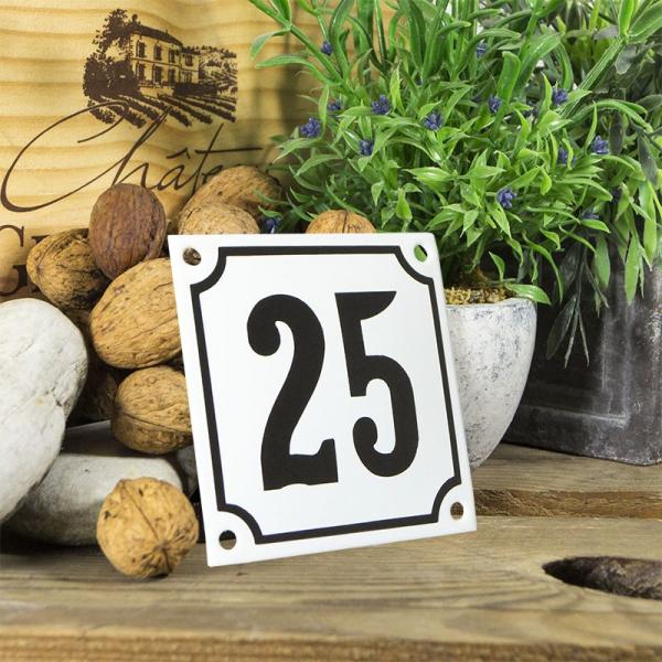 Huisnummerbord wit klein 10x10 cm nummer 25