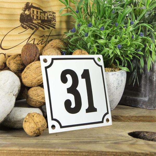 Huisnummerbord wit klein 10x10 cm nummer 31