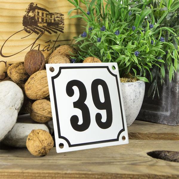 Huisnummerbord wit klein 10x10 cm nummer 39