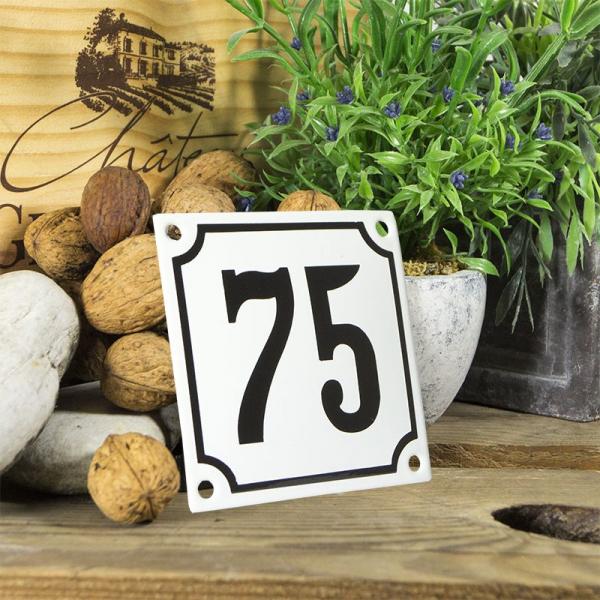 Huisnummerbord wit klein 10x10 cm nummer 75