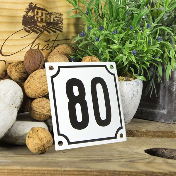 Huisnummerbord wit klein 10x10 cm nummer 80