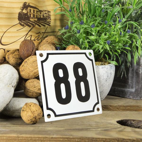 Huisnummerbord wit klein 10x10 cm nummer 88
