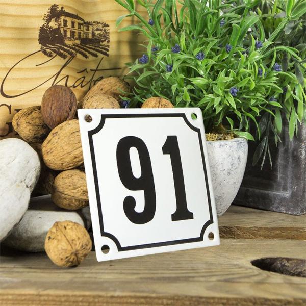 Huisnummerbord wit klein 10x10 cm nummer 91