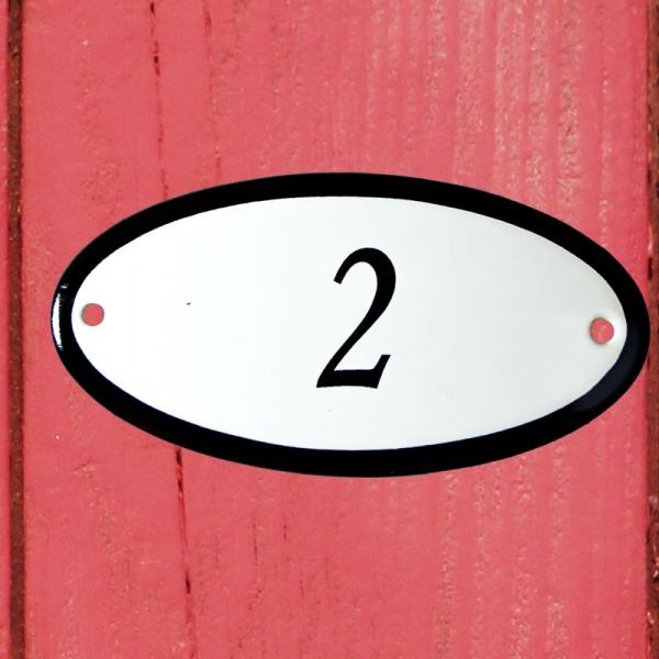 Huisnummerbordje ovaal nummer 2