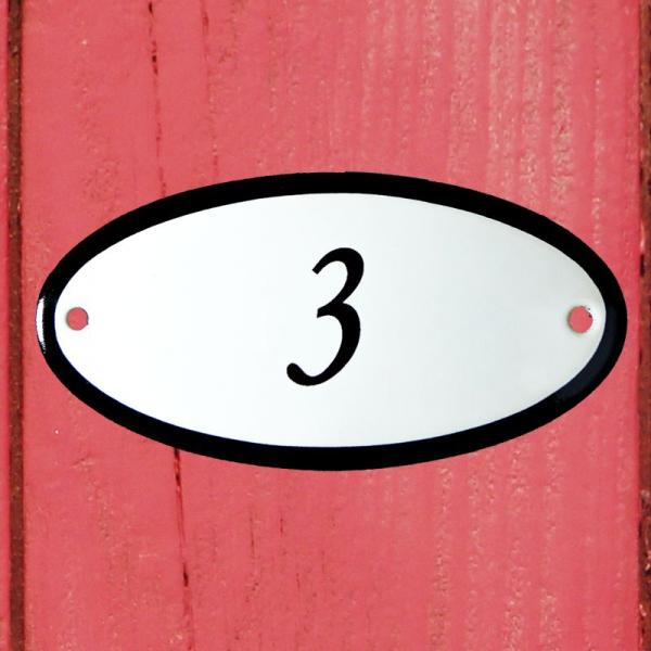 Huisnummerbordje ovaal nummer 3
