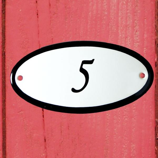 Huisnummerbordje ovaal nummer 5