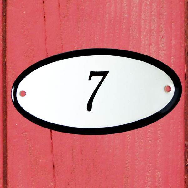 Huisnummerbordje ovaal nummer 7