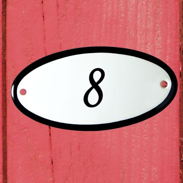 Huisnummerbordje ovaal nummer 8