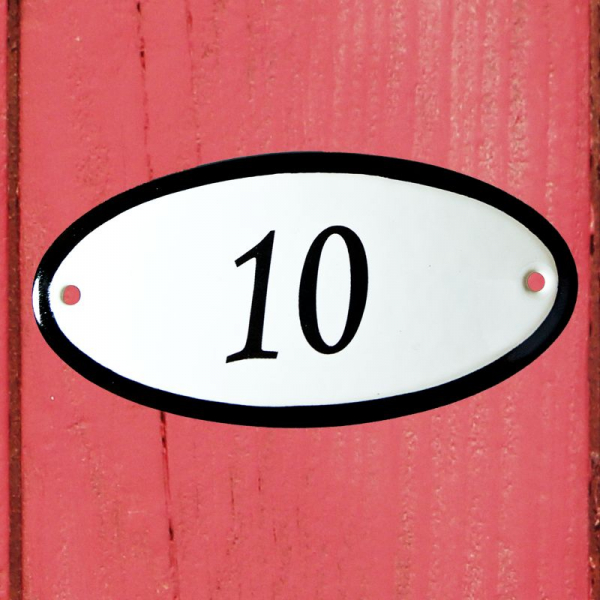 Huisnummerbordje ovaal nummer 10