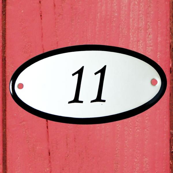 Huisnummerbordje ovaal nummer 11