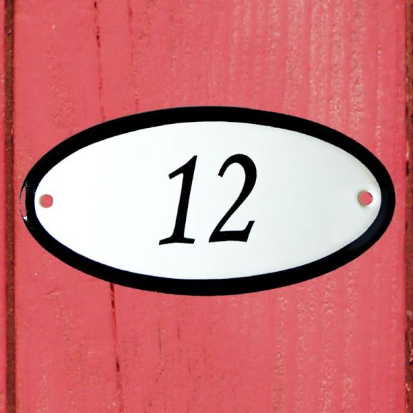 Huisnummerbordje ovaal nummer 12