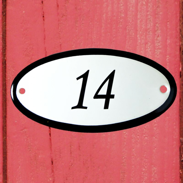 Huisnummerbordje ovaal nummer 14