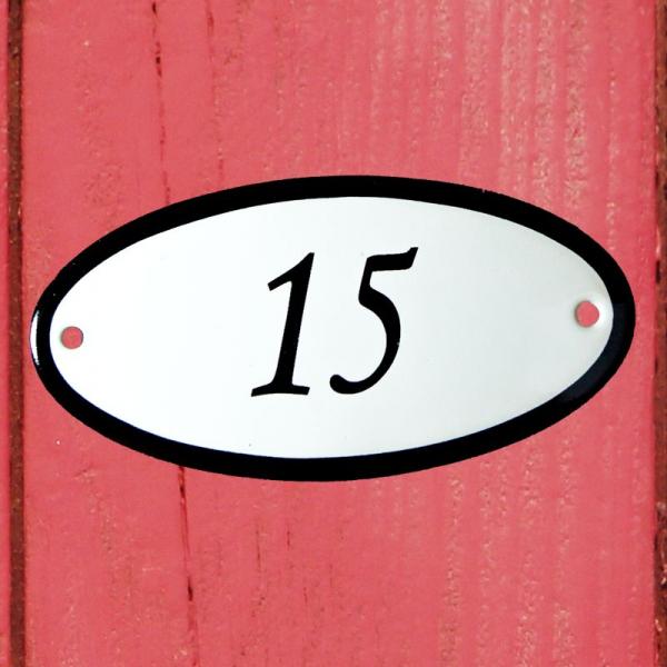Huisnummerbordje ovaal nummer 15