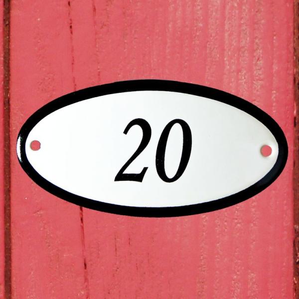 Huisnummerbordje ovaal nummer 20
