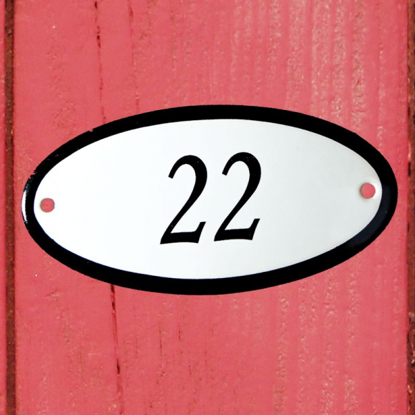 Huisnummerbordje ovaal nummer 22