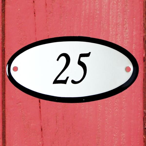 Huisnummerbordje ovaal nummer 25