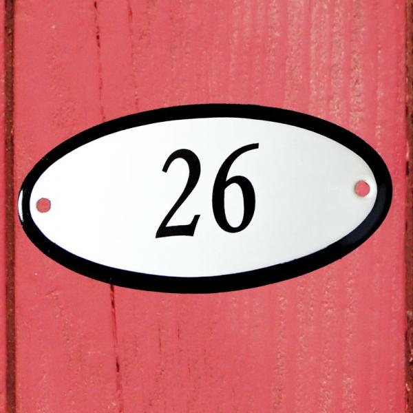 Huisnummerbordje ovaal nummer 26