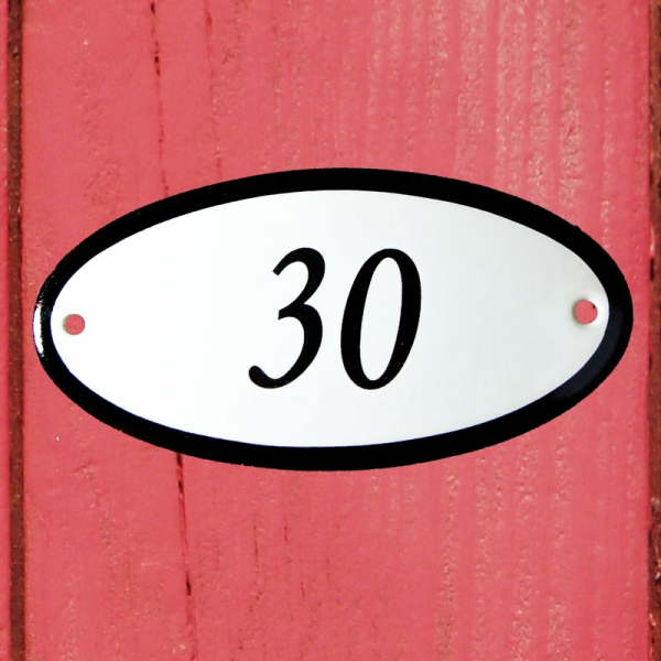 Huisnummerbordje ovaal nummer 30