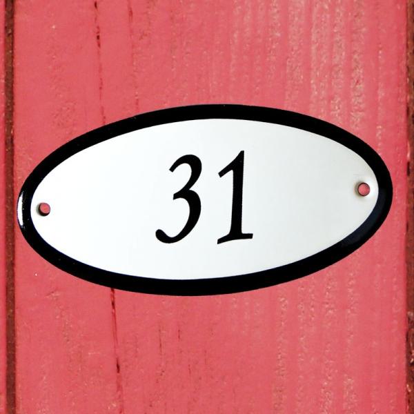 Huisnummerbordje ovaal nummer 31