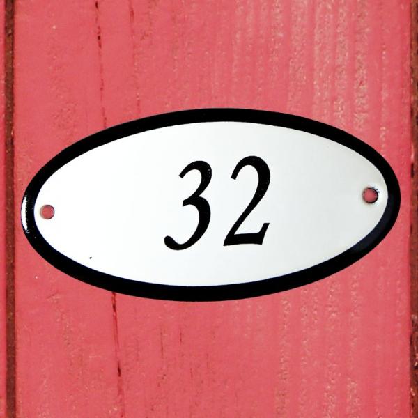 Huisnummerbordje ovaal nummer 32