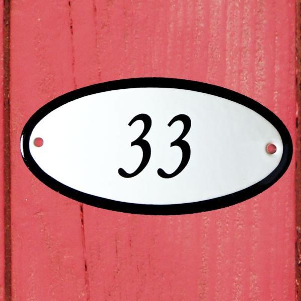 Huisnummerbordje ovaal nummer 33